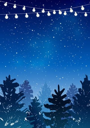 Christmas trees with light bulbs on starry sky background - vector greeting card for winter holiday design