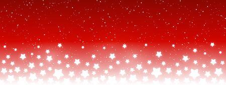 Glanzende sterren op rode achtergrond - horizontale panoramische banner voor uw ontwerp Vector Illustratie