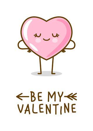 Emoji coeur rose kawaii isolé sur fond blanc. Caractère vectoriel pour la conception mignonne de la Saint-Valentin
