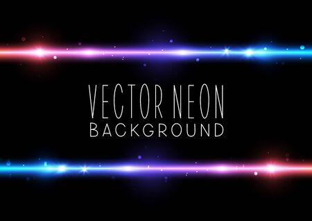 Bright neon horizontal border on black background - vector shiny elements