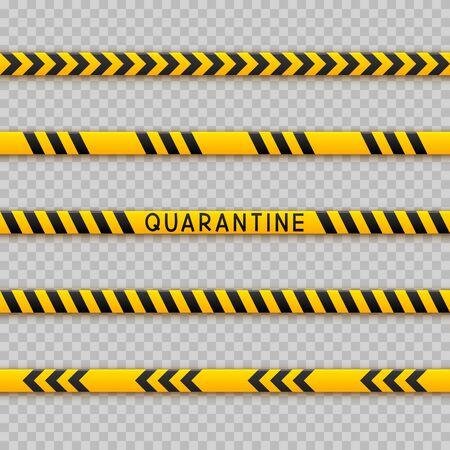 Set of seamless signal tape borders for quarantine coronavirus design on transparent background Ilustración de vector