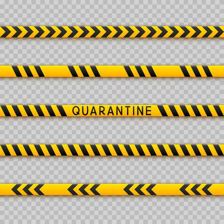 Set of seamless signal tape borders for quarantine coronavirus design on transparent background Vektoros illusztráció