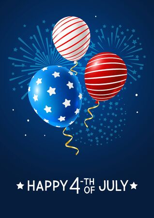Independence day greeting card with color balloons and fireworks on night sky background