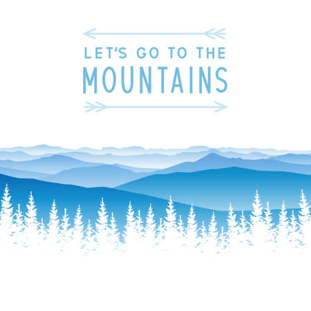 Mountain scene with coniferous forest silhouette - landscape for poster and banner design