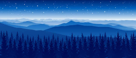 Mountain scene with coniferous forest on starry sky background- panoramic horizontal landscape for banner design Ilustração