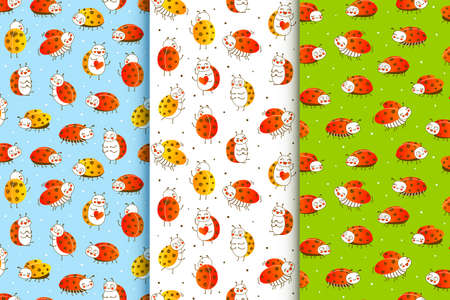 Set of seamless patterns with cute little ladybugs - cartoon backgrounds for funny children design 矢量图像