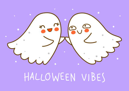 Cute little ghosts on purple background - cartoon characters for funny Halloween greeting card and poster design