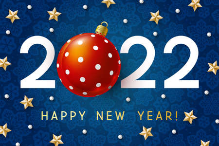 New Year concept - 2022 numbers with Christmas ball and starry decor on blue snowflakes background for winter holidays design 矢量图像