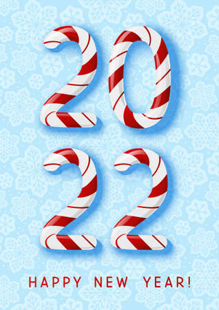 New Year concept - 2022 candy numbers on blue snowflakes background for winter holidays design