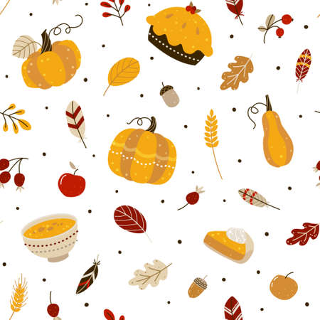 Seamless pattern with pumpkins and autumn elements and food for Thanksgiving day design 矢量图像