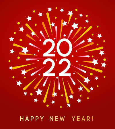 New Year 2022 greeting card design with color firework on red background 矢量图像