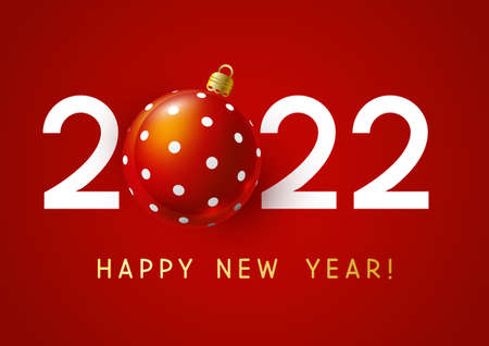 New Year concept - 2022 numbers with Christmas ball on red background for winter holidays design 矢量图像