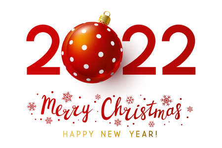 New Year concept - 2022 numbers with Christmas ball on white background for winter holidays design 矢量图像