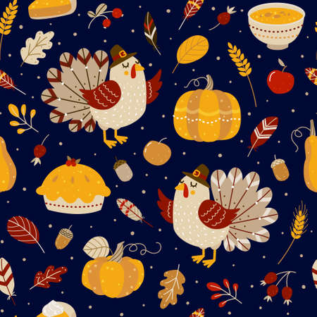 Seamless pattern with cute turkey and autumn elements for Thanksgiving day design 矢量图像