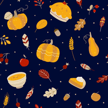 Seamless pattern with pumpkins and autumn elements and food on dark background for Thanksgiving day design 矢量图像