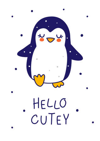 Cute little penguin isolated on white background - cartoon character for funny Christmas and New Year winter greeting card and poster design 矢量图像