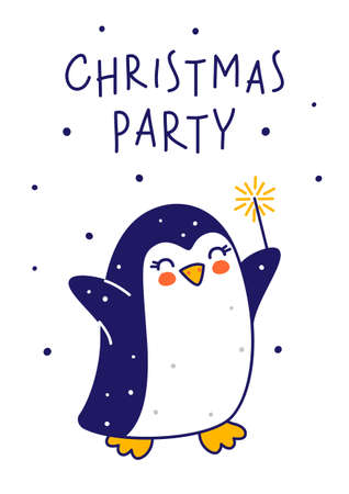 Cute little penguin with sparkler isolated on white background - cartoon character for funny Christmas and New Year winter greeting card and poster design 矢量图像