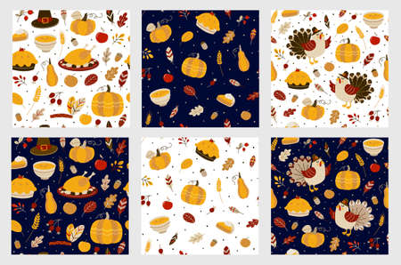 Set of seamless patterns with cute turkeys and autumn food - cartoon backgrounds for cozy Thanksgiving textile or wrapping paper design