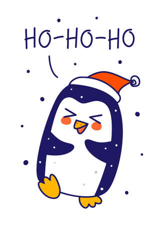 Cute little penguin wearing Santa hat isolated on white background - cartoon character for funny Christmas and New Year winter greeting card and poster design 矢量图像