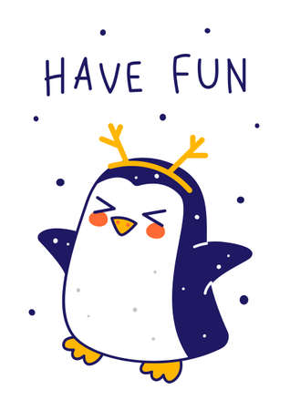 Cute little penguin with deer horns isolated on white background - cartoon character for funny Christmas and New Year winter greeting card and poster design 矢量图像
