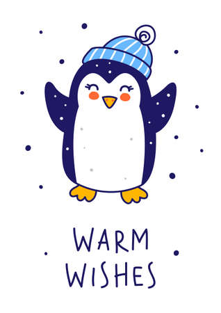 Cute little penguin wearing warm hat isolated on white background - cartoon character for funny Christmas and New Year winter greeting card and poster design