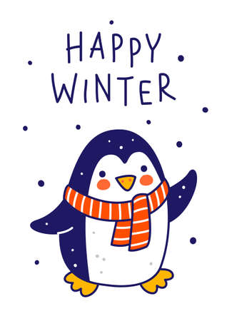 Cute little penguin wearing warm knitted scarf isolated on white background - cartoon character for funny Christmas and New Year winter greeting card and poster design