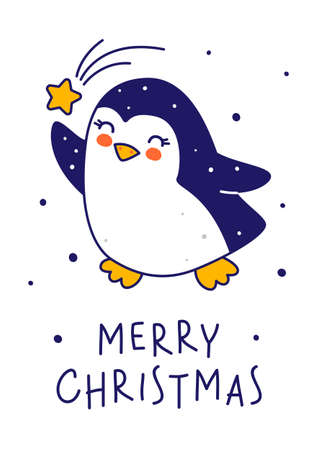 Cute little penguin with star isolated on white background - cartoon character for funny Christmas and New Year greeting card and poster design