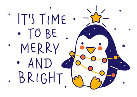 Cute little penguin wearing like Christmas tree isolated on white background - cartoon character for funny winter holidays greeting card and poster design 矢量图像