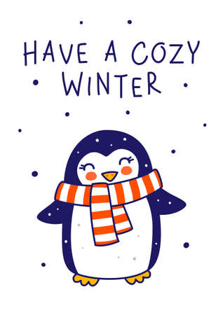 Cute little penguin wearing warm scarf isolated on white background - cartoon character for funny Christmas and New Year winter greeting card and poster design