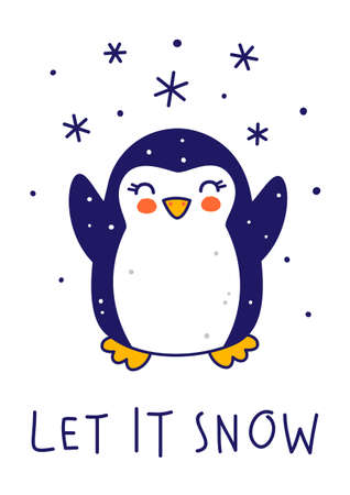 Cute little penguin with snow isolated on white background - cartoon character for funny Christmas and New Year winter greeting card and poster design