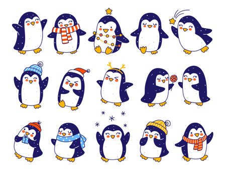 Set of cute little penguins isolated on white background - cartoon characters for funny Christmas and New Year holidays greeting card and poster design 矢量图像
