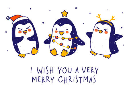 Cute little penguins isolated on white background - cartoon characters for funny Christmas and New Year holidays greeting card and poster design