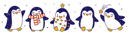 Cute little penguins border isolated on white background - cartoon characters for funny Christmas and New Year holidays panoramic banner