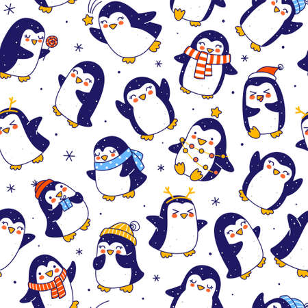 Seamless pattern with cute little penguins border isolated on white - cartoon characters background for funny Christmas and New Year holidays textile and wrapping paper design