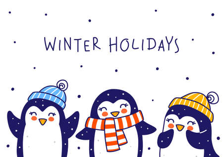Cute little penguins on white background - cartoon characters border for funny Christmas and New Year holidays greeting card and poster design Illusztráció