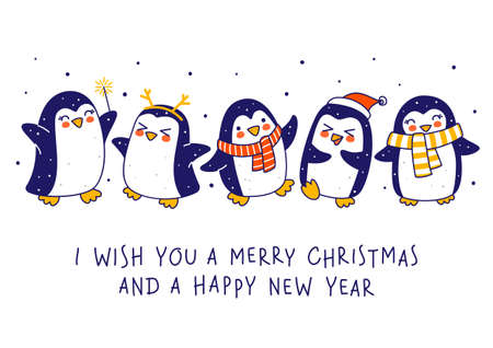 Cute little penguins isolated on white background - cartoon characters border for funny Christmas and New Year holidays greeting card and poster design Illusztráció