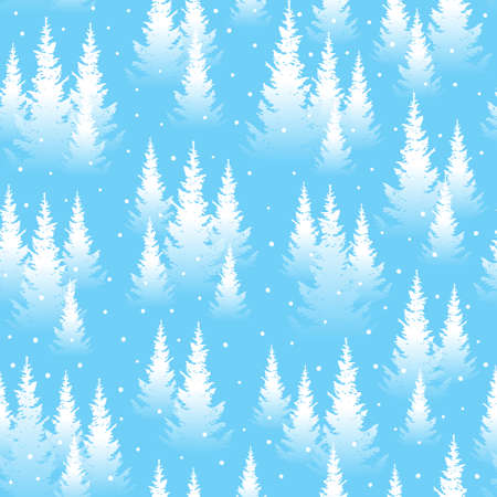 Seamless pattern with winter coniferous forest - snow landscape background for Your design