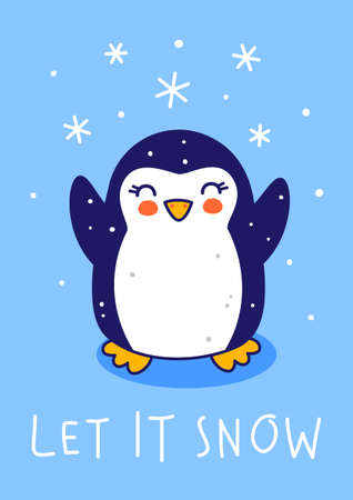 Cute little penguin with snow on blue background - cartoon character for funny Christmas and New Year winter greeting card and poster design Illusztráció