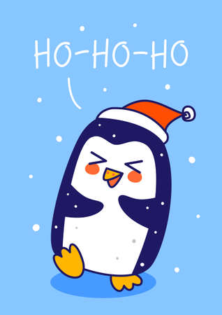 Cute little penguin wearing Santa hat on blue background - cartoon character for funny Christmas and New Year winter greeting card and poster design