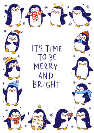 Cute little penguins isolated on white background - cartoon characters vertical frame for funny Christmas and New Year holidays greeting card and poster design
