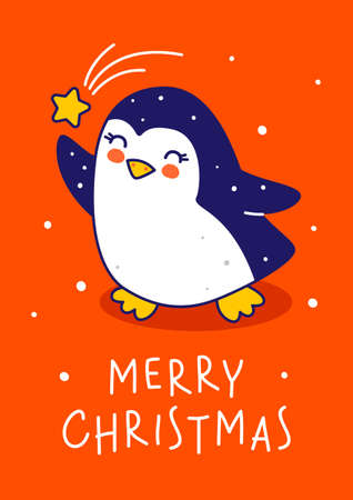 Cute little penguin with star on red background - cartoon character for funny Christmas and New Year greeting card and poster design
