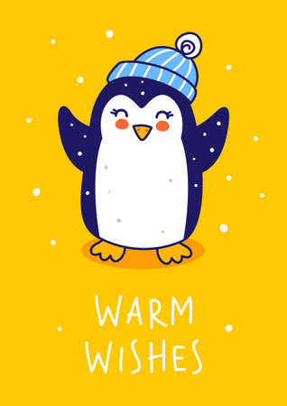 Cute little penguin wearing warm hat on yellow background - cartoon character for funny Christmas and New Year winter greeting card and poster design