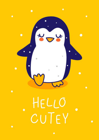 Cute little penguin on yellow background - cartoon character for funny Christmas and New Year winter greeting card and poster design
