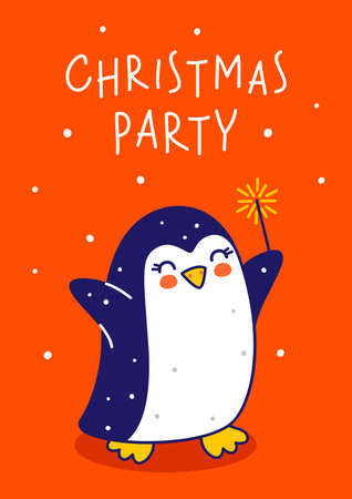 Cute little penguin with sparkler on red background - cartoon character for funny Christmas and New Year winter greeting card and poster design