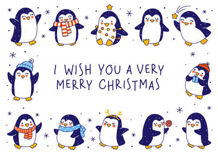 Cute little penguins isolated on white background - cartoon characters horizontal frame for funny Christmas and New Year holidays greeting card and poster design