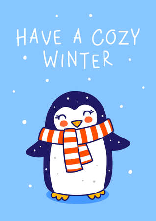 Cute little penguin wearing warm scarf on blue background - cartoon character for funny Christmas and New Year winter greeting card and poster design