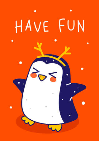 Cute little penguin with deer horns on red background - cartoon character for funny Christmas and New Year winter greeting card and poster design