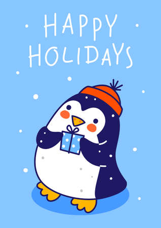 Cute little penguin wearing knitted hat with gift box on blue background - cartoon character for funny Christmas and New Year winter greeting card and poster design 矢量图像