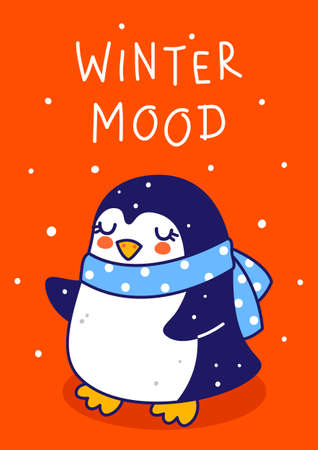 Cute little penguin wearing blue knitted scarf on red background - cartoon character for funny Christmas and New Year winter greeting card and poster design Illusztráció