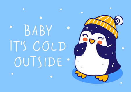 Cute little penguin wearing warm knitted hat on blue background - cartoon character for funny Christmas and New Year winter greeting card and poster design